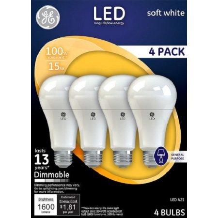 GE LED 17W Soft White General Purpose, A21 Medium Base, Dimmable, 4pk Light Bulbs