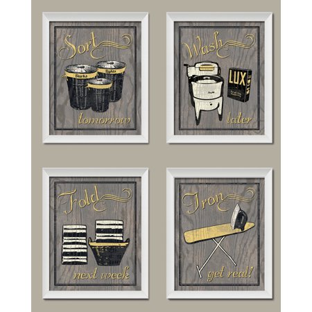 Trendy Extremely Por Humorous Laundry Room Wash Sort Fold Iron Set Four 8 By 10 Inch White Framed Fine Art Prints Ready To Hang