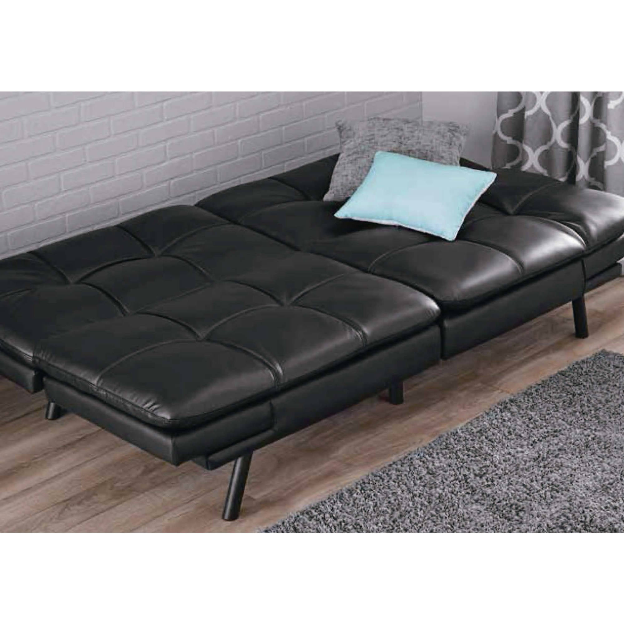 Leather Futon Couch Sleeper Sofa Love Seat Convertible Sectional Bed Chair  Black