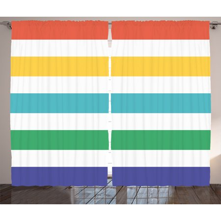 Striped Curtains 2 Panels Set, Rainbow Colored and White Fun Horizontal Lines Kids Room Red Yellow Blue Green Art, Window Drapes for Living Room Bedroom, 108W X 84L Inches, Multicolor, by Ambesonne (Ac Yellow Stripe)
