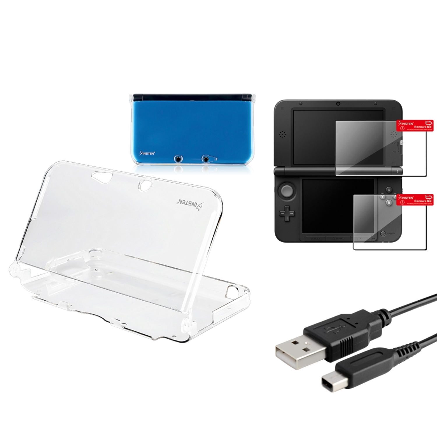 Insten Clear Crystal Skin Case+2-LCD Screen Film+USB Charging Cable For Nintendo 3DS XL