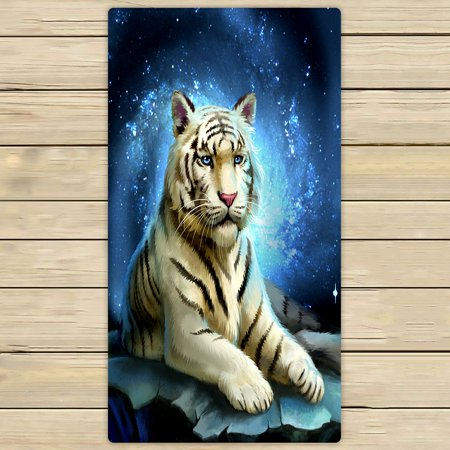 PHFZK White Tiger King Blue Galaxy Hand Towel Bath Bathroom Shower Towels Beach Towel 30x56 inches