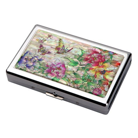 Pearl Cigarette (Mother of Pearl Red Yellow Purple Peony Flower Design Extra Long 100S Super Slim King Size 16 Cigarette Engraved Metal Steel RFID Blocking Protection Credit Business Card US Bill Holder)