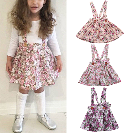 Newborn Toddler Baby Girl Floral Party Princess Bib Strap Skirt Dress Clothes 0-4Y