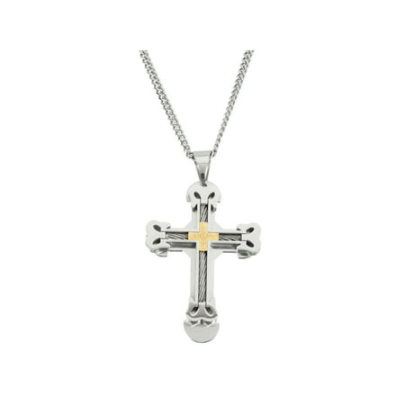 Men's 316L Stainless Steel and Gold IP Cable Wire Cross Pendant, 24