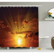 Nature Shower Curtain Set, Dramatic Burning Sunset in the Sky Daily Disappearance Twilight Rotation Mystic Picture, Bathroom Decor, 69W X 70L Inches, Orange, by Ambesonne