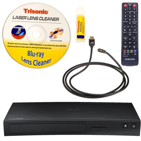 Samsung BD-J5900 Curved, Wi-Fi and 3D Blu-ray Disc Player with Remote Control + High-Speed HDMI Cable with Ethernet + Blu-Ray Disc Laser Lens Cleaner