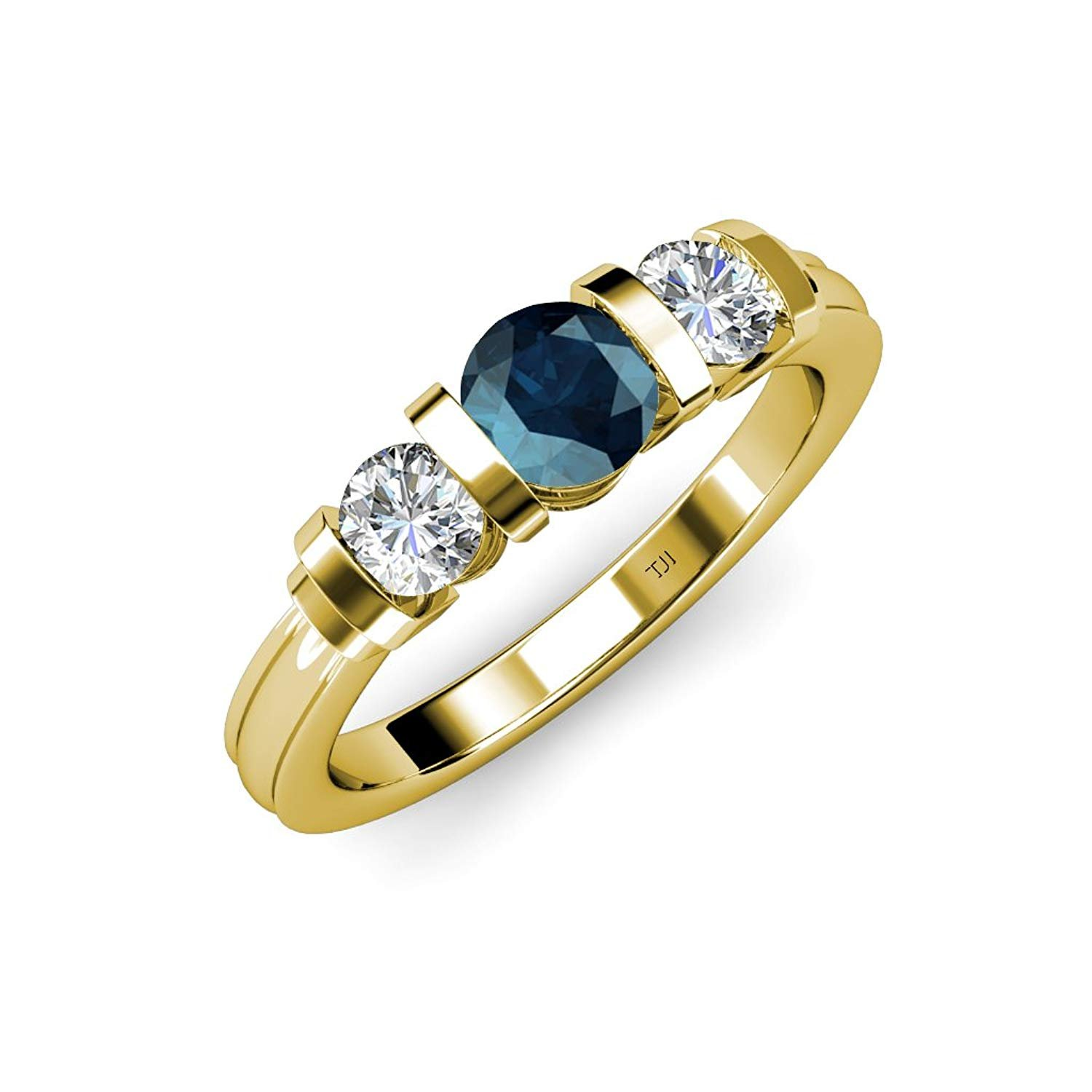 Blue and White Diamond (SI2-I1, G-H) Bar Set Three Stone Ring 1.10 ct tw in 14K Yellow Gold.size 4.0 by TriJewels