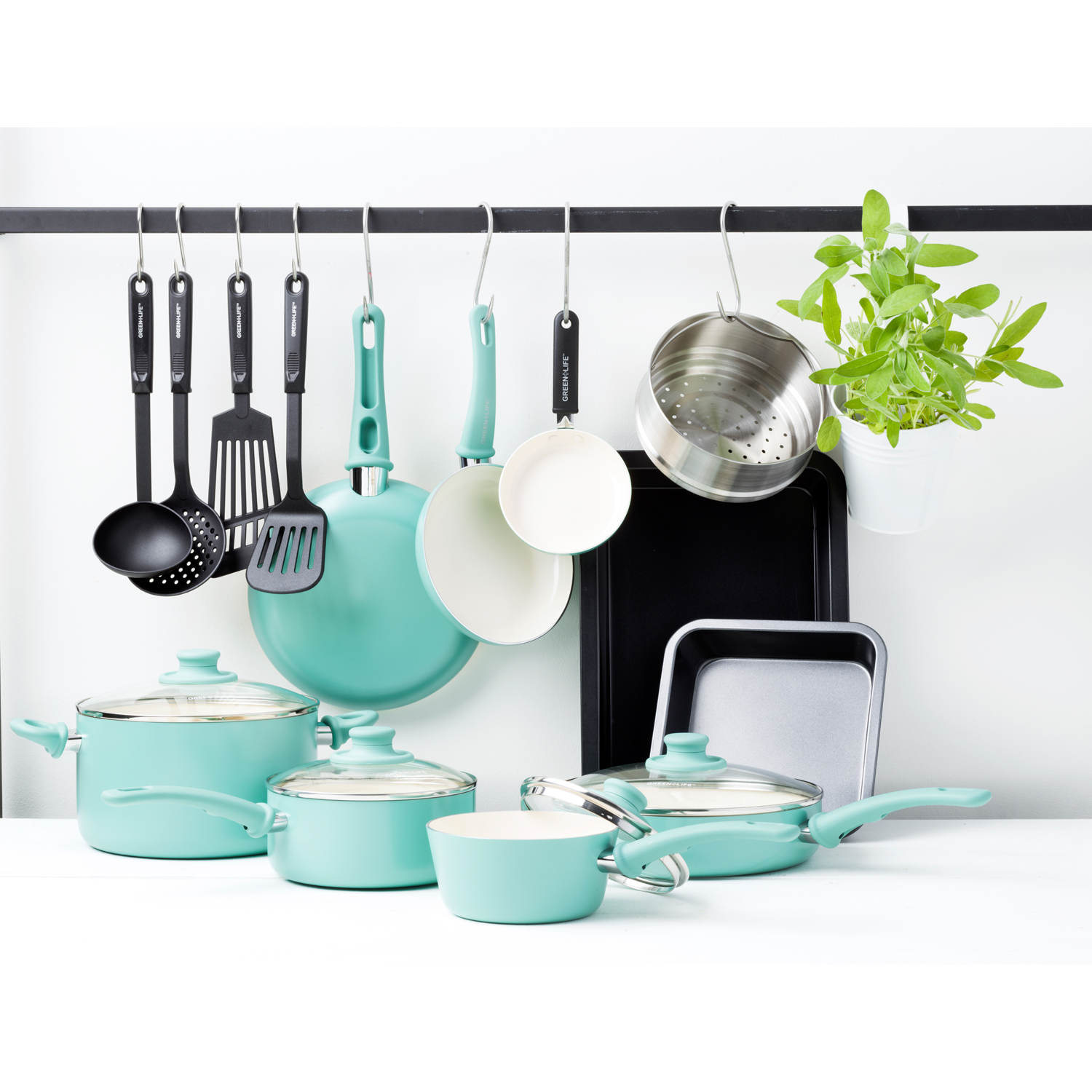 GreenLife Chef's Essentials Ceramic Non-Stick 18pc Cookware Set, Turquoise