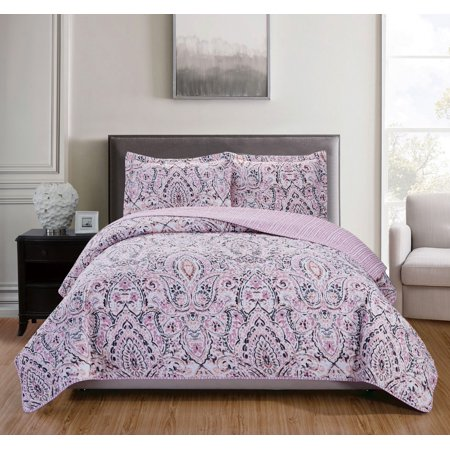 Rose 13 Piece (Cayman 3-Piece Reversible Quilt Set in Rose -)