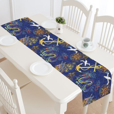 MYPOP Navy Nautical Anchor Table Runner Home Decor 14x72 Inch,Anchor Dragon Boat Peace Dove Table Cloth Runner for Wedding Party Banquet Decoration (Navy Table Runner)