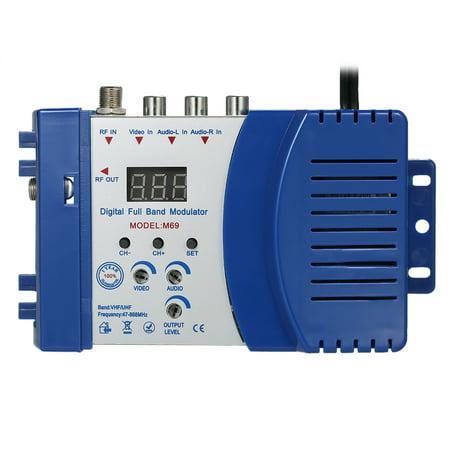 Compact RF Modulator Audio Video TV Converter RHF UHF Signal Amplifier AC120V