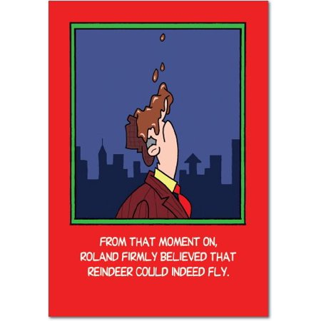 B1827 Flying Reindeer Crap' Box Set of 12 Funny Merry Christmas Note Cards with Envelopes by NobleWorks