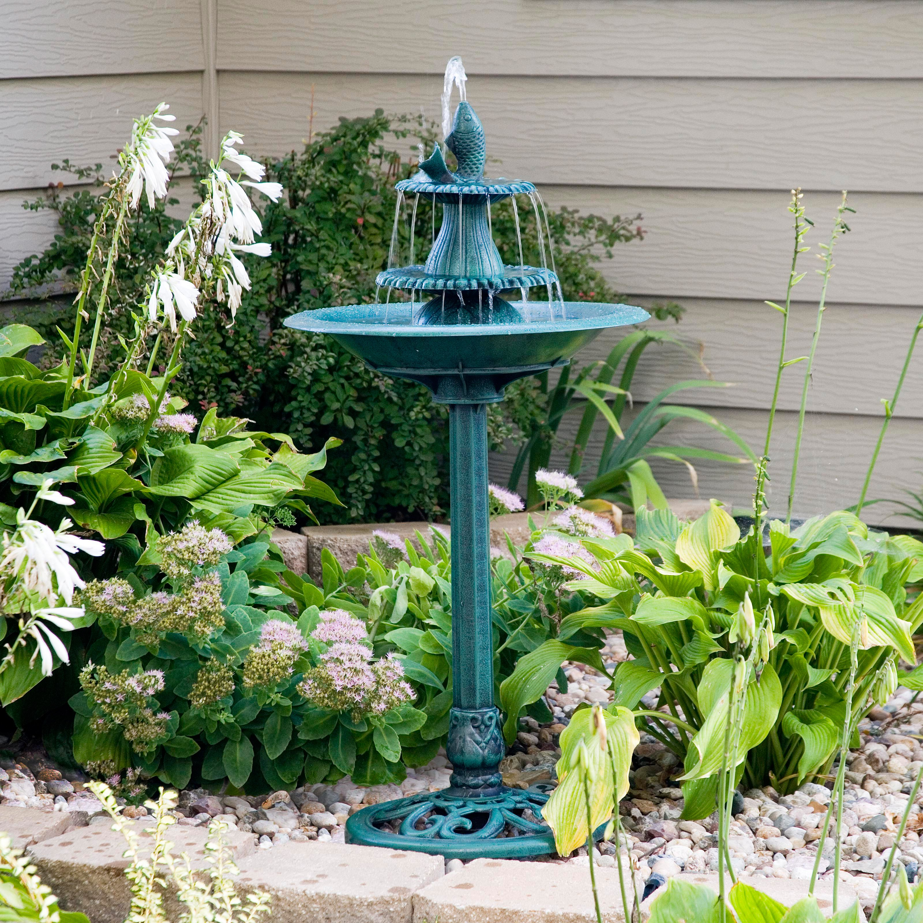 "Click here to buy 41"" Tiered Pedestal Fish Fountain Birdbath by Alpine Corporation."