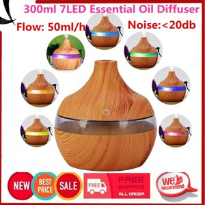 Wood grain humidifier,Ultra Quiet humidifiers for home Cool Mist Humidifier 300ml Essential Oil Diffuser(with colorful and changing LED lamp)
