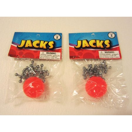 2 Sets Of Metal Jacks and Rubber Ball Set ()