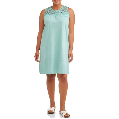 Women's Plus Size Sleeveless A-Line Crochet Trimmed Dress