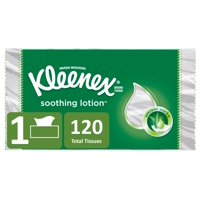 Kleenex Soothing Lotion Facial Tissues, 120 Tissues per Flat Box, 1 Box