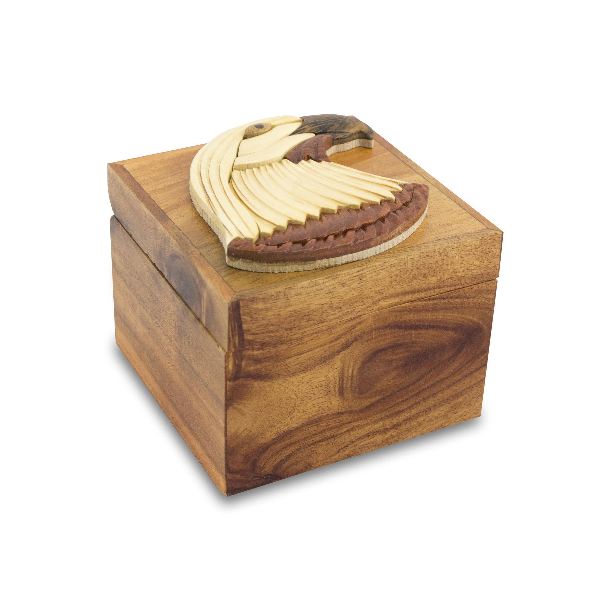 NEW! Intarsia Wood Cremation Keepsake Box - Patriotic Eagle