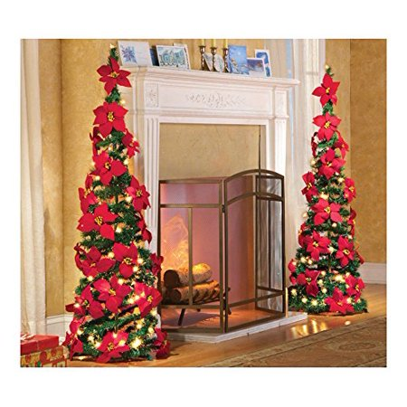 4 Ft. Tall Lighted Red Poinsettia Pull Up Christmas Tree Cordless Lighted Poinsettia