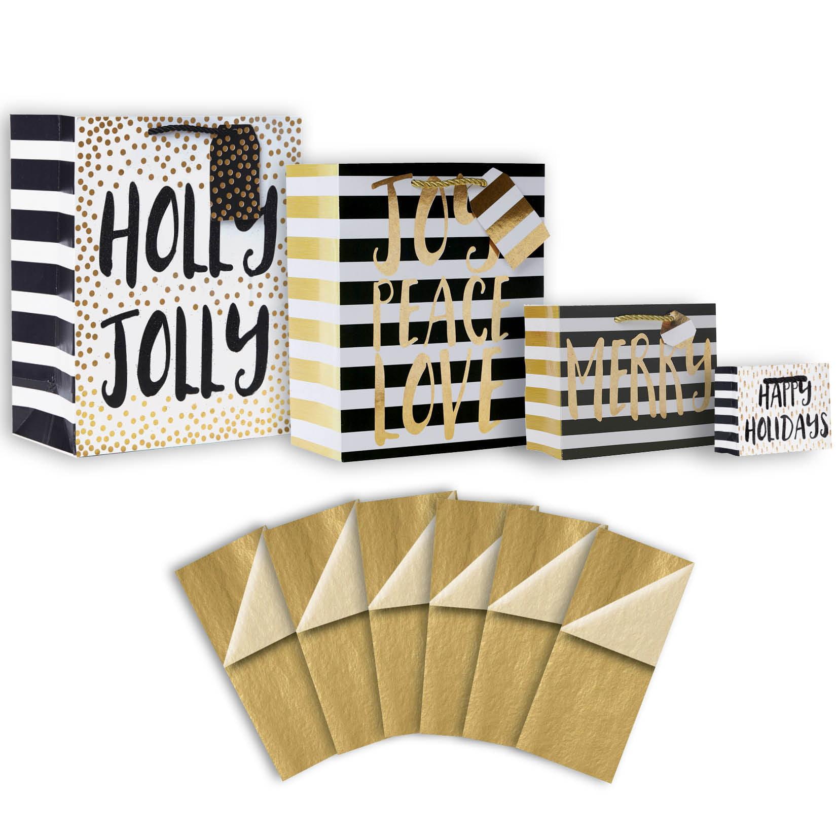 Jillson & Roberts Gift Bag & Tissue Assortment, Christmas Lettering (4 Bags)