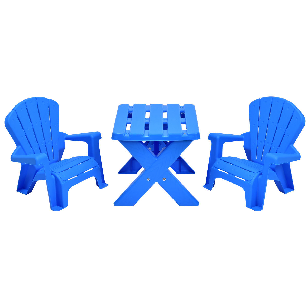 GHP Blue Plastic 3-Piece Table and Chairs Set Kids Indoor Outdoor Furniture Play