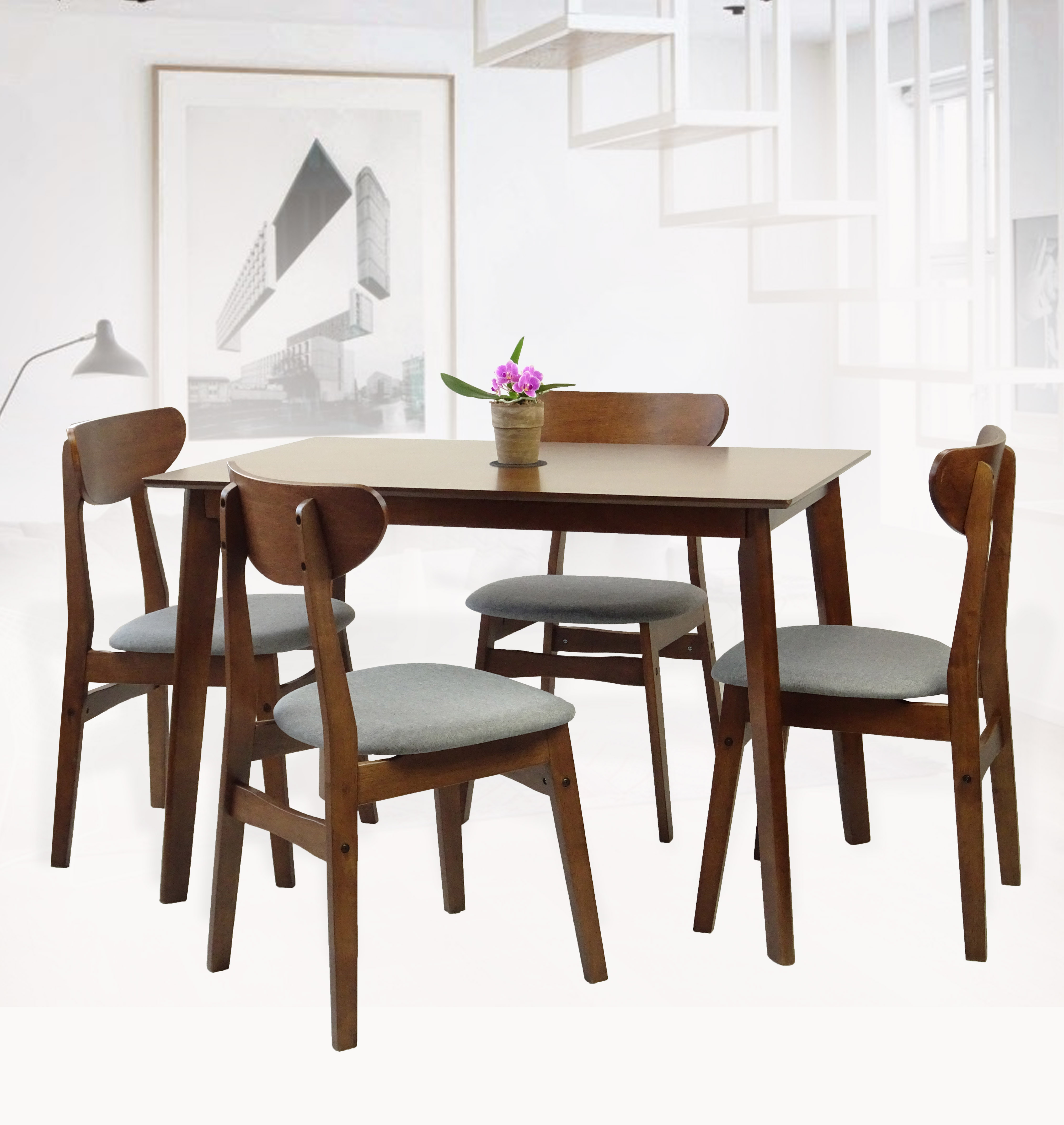 SK New Interiors Dining Kitchen Rectangular Table and 4 Yumiko Side Chairs (Set of 5) Solid Wood Medium Brown Finish