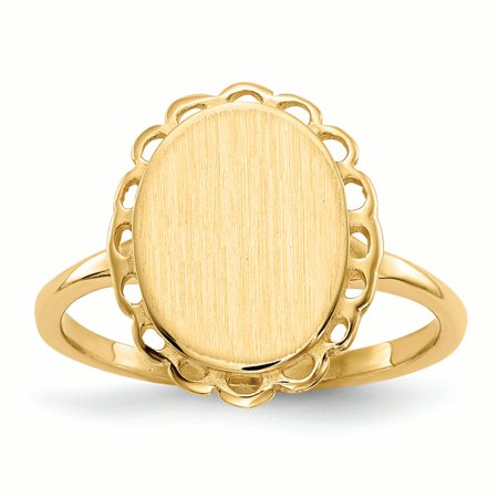 14K Yellow Gold 3 MM Oval Engravable Signet Ring, Size (Yellow Gold Oval Signet Ring)