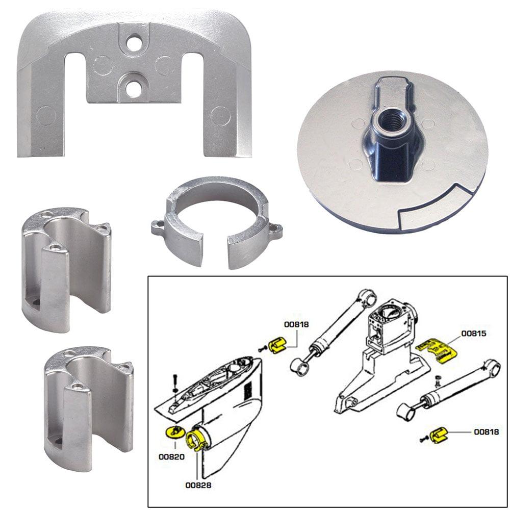 Tecnoseal Anode Kit Merc Bravo 1 W/ Hardware Aluminum Poly
