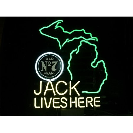 Desung Brand New Jack Daniels Lives Here Michigan Old Number 7 No. 7 #7 Whiskey Neon Sign Lamp Glass Beer Bar Pub Man Cave Sports Store Shop Wall Decor Neon Light 20