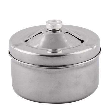Home Office Metal Three Grooves Design Rotatable Ashtray