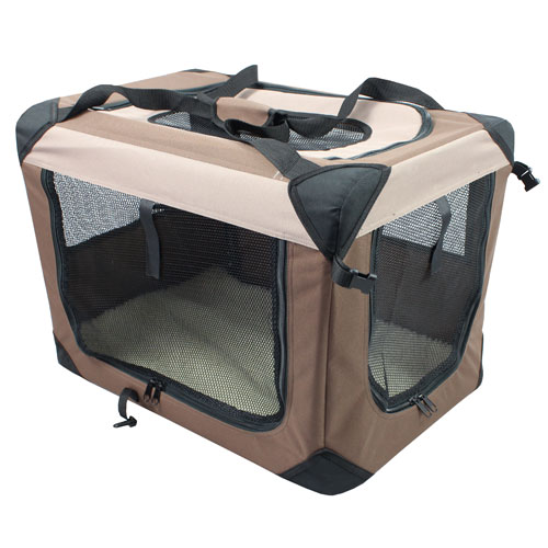 Iconic Pet - Multipurpose Pet Soft Crate with Fleece Mat - Coffee/Khaki - Large