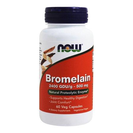 NOW Foods - Bromelain 2400 GDU/g 500 mg. - 60 Vegetarian Capsules