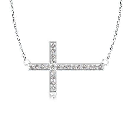 Valentine Jewelry gift - Classic Diamond Sideways Cross Necklace in 14K White Gold (1mm Diamond) - SP1048D-WG-IJI1I2-1