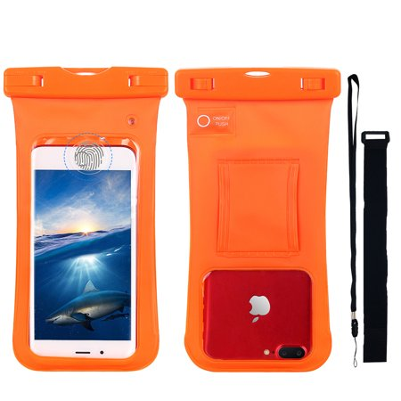 Waterproof Case with Leakage Led Alarm, Universal Waterproof Cell Phone Dry Bag Pouch with Armband Lanyard for iPhone 6 6S Plus 7 5S SE, Samsung Galaxy S8 S8+ S7 S6 Note 5 4,HTC,Motorola etc - Black Led Cell Phone