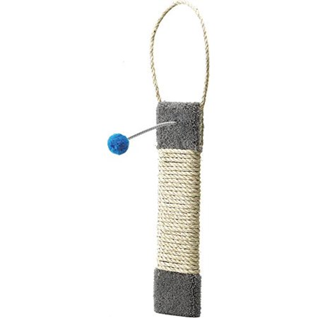 Ware Kitty Cactus Post - Carpeted Kitty Scratch Surface Door Hanger Post, 19-Inch, Premium Carpeted Hanging Scratch Surface with Pom Pom Toy that Your Cat Will Love! By Ware Manufacturing