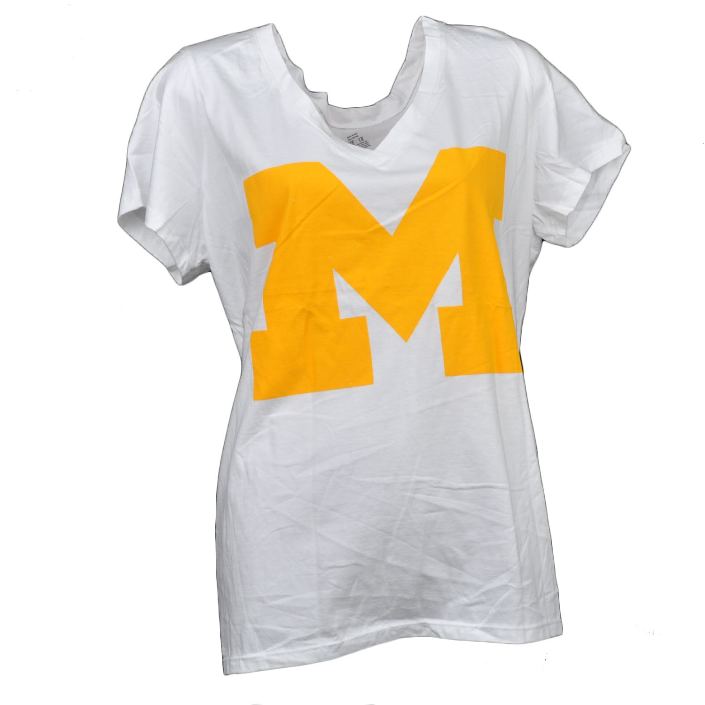 NCAA Michigan Wolverines V Neck Tshirt White Womens Short Sleeve Big Logo 3XLarg