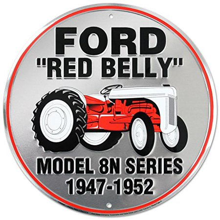Ford Red Belly Model 8N Red Tractor Round Tin Sign 12 x 12in