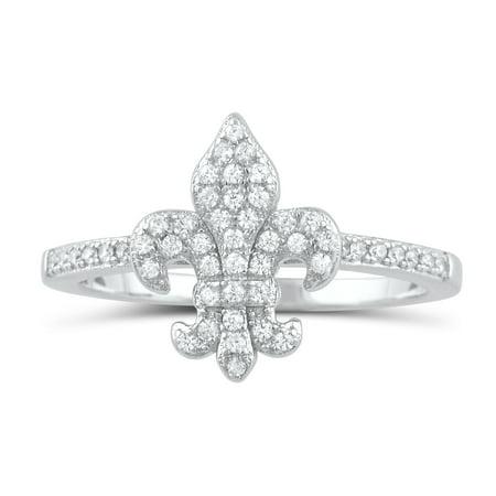 Sterling Silver Simulated Diamond Fleur De Lis Ring - Size 4 Spinel Fleur De Lis