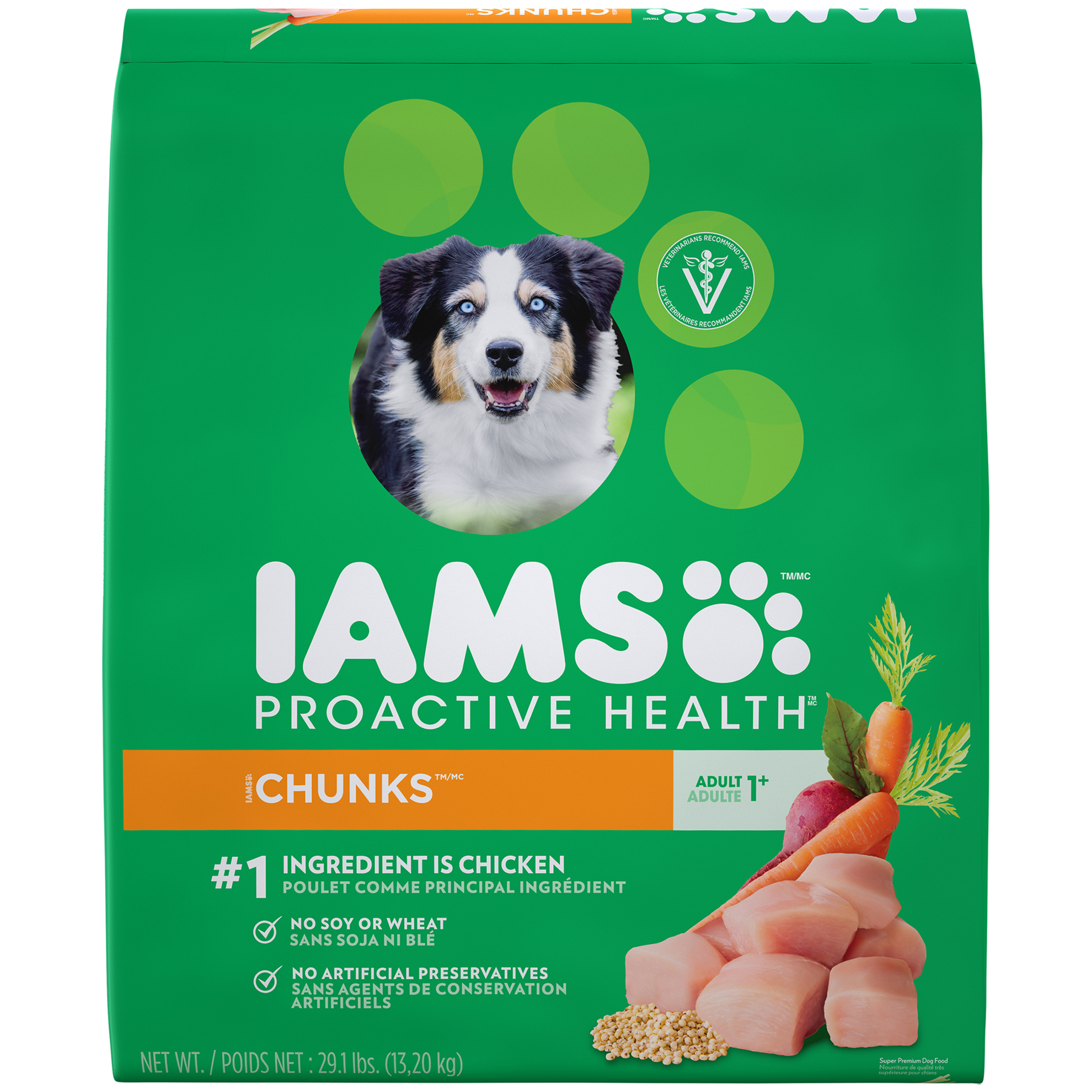 Iams Proactive Health Chunks Dry Dog Food, Chicken, 29.1 Lb