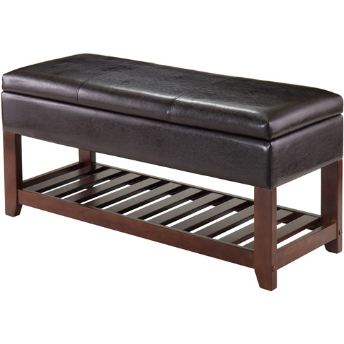 Monza Bench with Storage Chest Faux Leather