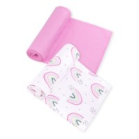 Little Star Organic 100% Pure Organic Cotton Swaddle Blanket, 2 Pk, Pink-Taste the Rainbow
