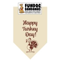 Fun Dog Bandana - Happy Turkey Day - One Size Fits Most for Med to Lg Dogs, natural pet scarf