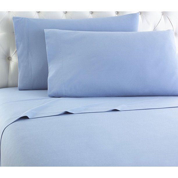 Empire Home Heavy Winter Flannel 100 Cotton Sheet Set Fitted Flat Pillow Cases Deep Pocket Light Blue Twin Size Walmart Com Walmart Com