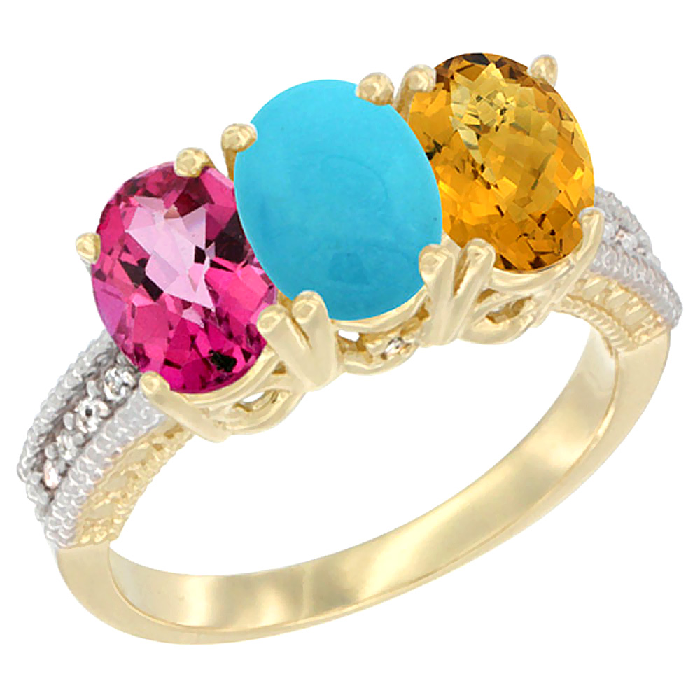 10K Yellow Gold Diamond Natural Pink Topaz, Turquoise & Whisky Quartz Ring 3-Stone 7x5 mm Oval, sizes 5 10 by WorldJewels