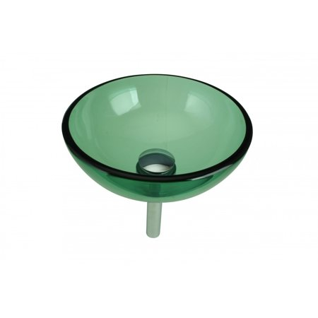 Green Round Bowl Mini Tempered Glass Vessel Sink with Drain Crystal Tempered Glass Vessel