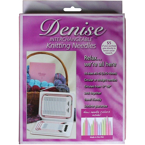 Denise Interchangeable Knitting Needles Kit, Pink Case with Pastel-Colored Needles