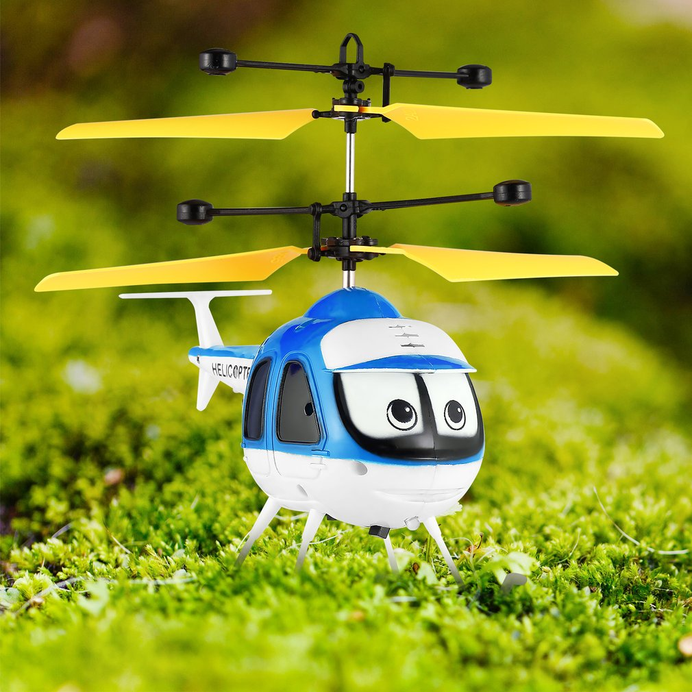 Induction Flying Toys Mini Rc Helicopter Cartoon Remote Control Drone Aircraft For