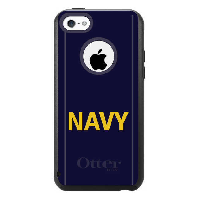 DistinctInk™ Custom Black OtterBox Commuter Series Case for Apple iPhone 5C - Yellow Navy