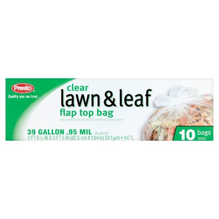 (3 Pack) Presto Clear Lawn & Leaf Flap Top Bag, 39 Gallon, 10 Count (Leafy Batik)